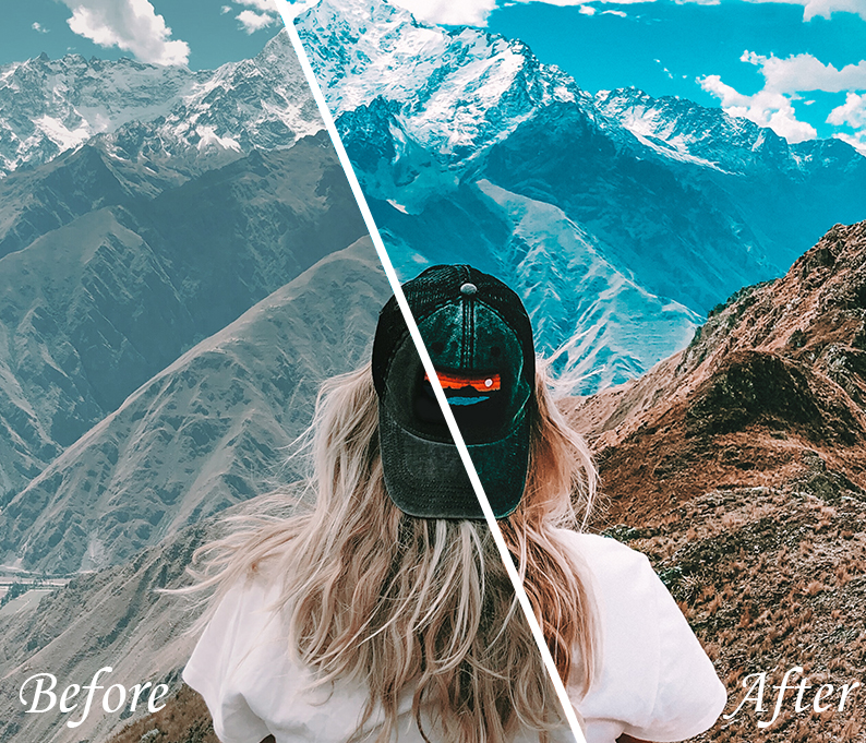 mobile lightroom presets girl in the mountains
